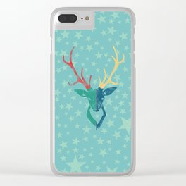 Colorful Stag (Red, Yellow, Green, Blue) Clear iPhone Case