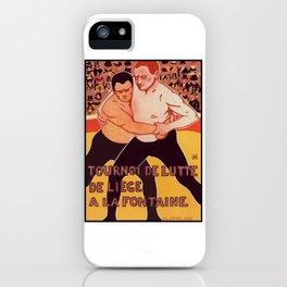 """Vintage Poster """"Tournoi de Lutte """" iPhone Case"""