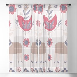 Scandinavian Winter Pattern Beige #society6 #buyart Sheer Curtain