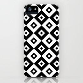 Diamond Check Pattern Black and White iPhone Case
