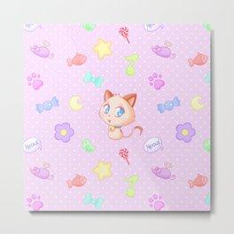 Kawaii chibi cat pattern Metal Print