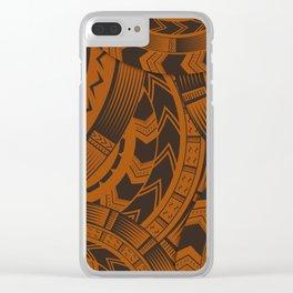 UrbanNesian Brown Tatau Design Clear iPhone Case