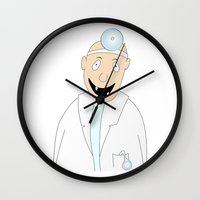 dentist Wall Clocks featuring happy dentist by siloto