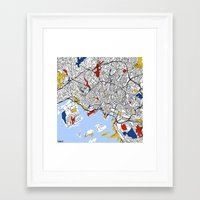 oslo Framed Art Prints featuring Oslo by Mondrian Maps