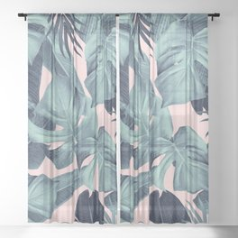 Tropical Summer Jungle Leaves Dream #3 #tropical #decor #art #society6 Sheer Curtain