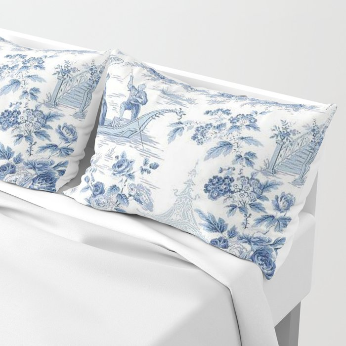 Powder Blue Chinoiserie Toile Kissenbezug