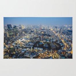 Tokyo skyline at sunset Rug