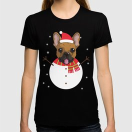 dogsnowman french T-shirt