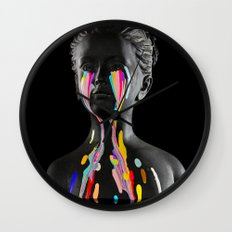 The Girl With Stars In Her Eyes (Black Background) Wall Clock