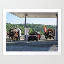 Horse & Buggies need fuel to Art Print