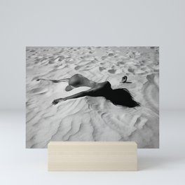 'All of Me' reclining nude brunette female form black and white photograph / art photography  Mini Art Print