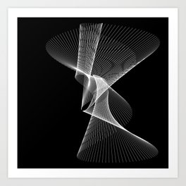 Waves of Time - White Lines Art Print