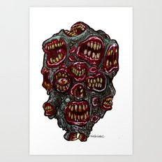 Heads of the Living Dead Zombies: Many Mouth Zombie Art Print