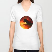 godzilla V-neck T-shirts featuring godzilla by avoid peril