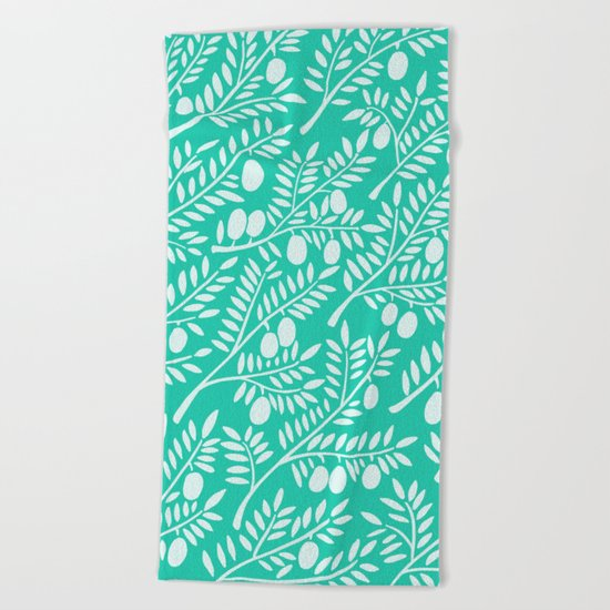 Turquoise Olive Branches Beach Towel