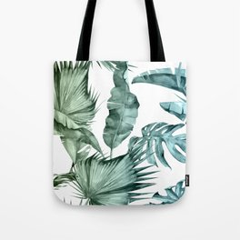 Tropical Palm Leaves Turquoise Green Blue Gradient Tote Bag