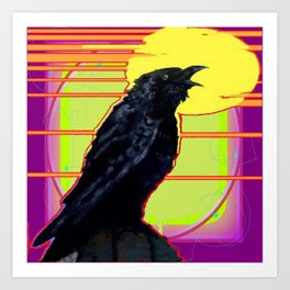 Art Deco Cawing Crow Western Abstract Art Print