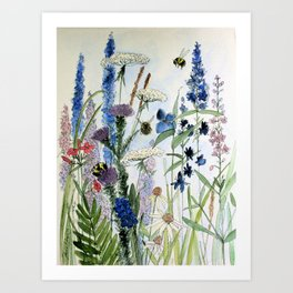 Wildflower in Garden Watercolor Flower Illustration Painting Art Print