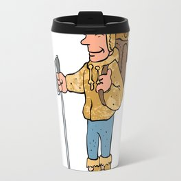 Mountain climber cartoon character Travel Mug