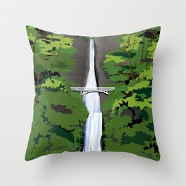 Multnomah Falls Illustration Throw Pillow