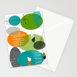 Mid-Century Modern Atomic Ovals Stationery Cards