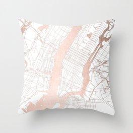 New York City White on Rosegold Street Map Throw Pillow