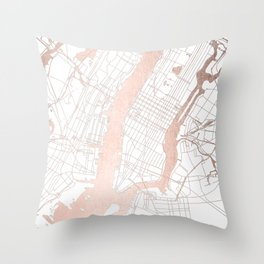New York City White on Rosegold Street Map Throw Pillow
