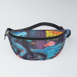 Abstract drawing cyclist in the night city Fanny Pack