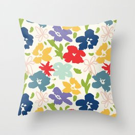 70s inspired loose florals Throw Pillow
