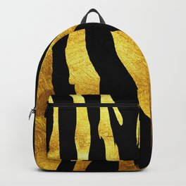 Gold and Black Striped Animal Print Backpack
