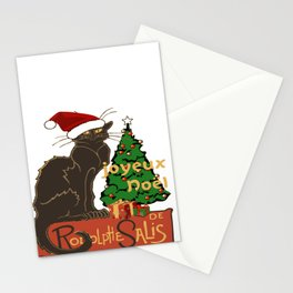 Joyeux Noel Le Chat Noir With Tree And Gifts Stationery Cards