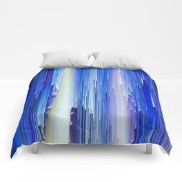 Frozen blue waterfall abstract digital painting Comforters