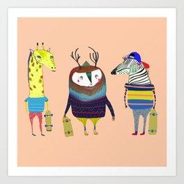 Skateboarding Animals by Ashley Percival Art Print