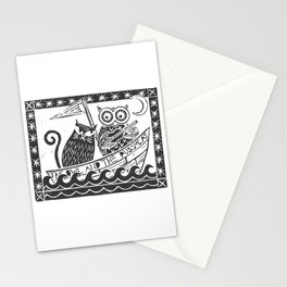 The Owl And The Pussycat (white background) Stationery Cards