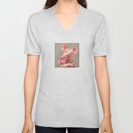 Pig In Love - with Peony Unisex V-Neck