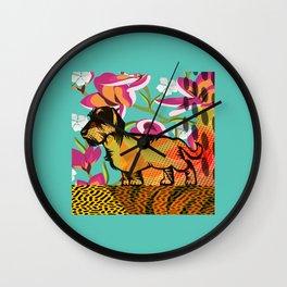 Dachshund  pop art Wall Clock