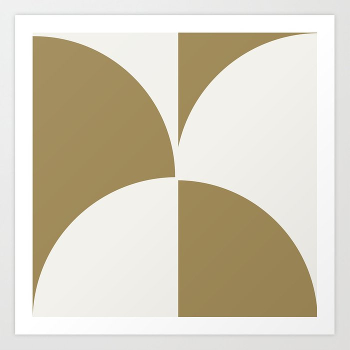 Diamond Series Round Checkers White on Gold Kunstdrucke