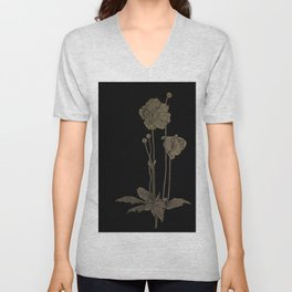 Black And Gold Poppies Unisex V-Neck