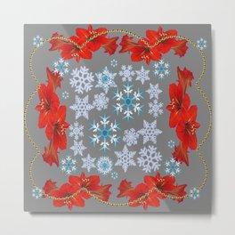 RED AMARYLLIS FLORAL GOLD  GARLAND & SNOWFLAKES  CHRISTMAS ART Metal Print