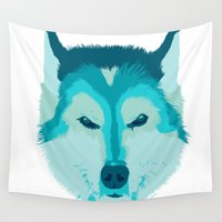 husky Wall Tapestries featuring DAVY ON WHITE by Kirk Scott