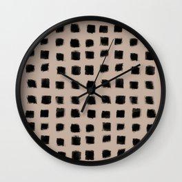 Polka Strokes - Black on Nude Wall Clock