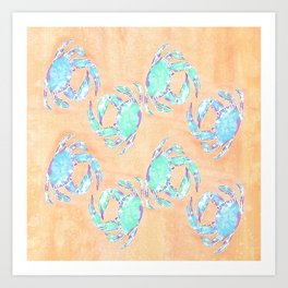 Crab orange blue nautical Art Print