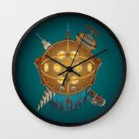 bioshock Wall Clocks featuring Bioshock tribute by Javier Robles