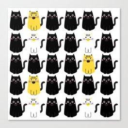 Black cat, white cat Canvas Print