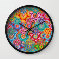 bohemian Wall Clocks featuring Bohemian by Helene Michau