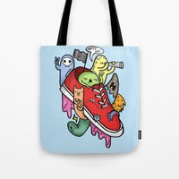 shoe Tote Bags featuring shoe pirates by ybalasiano
