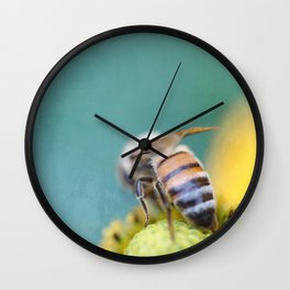 Honeybee on Teal Blue and Yellow Wall Clock