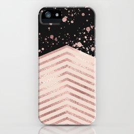 Luxury Rose Gold Pink Black Chevron Paint Splatter iPhone Case
