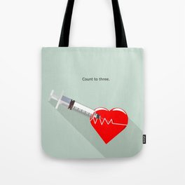 Shot to the heart - Pulp fiction Overdose Needle Scene needle for injection  Tote Bag