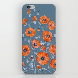 Red poppies in grey iPhone Skin